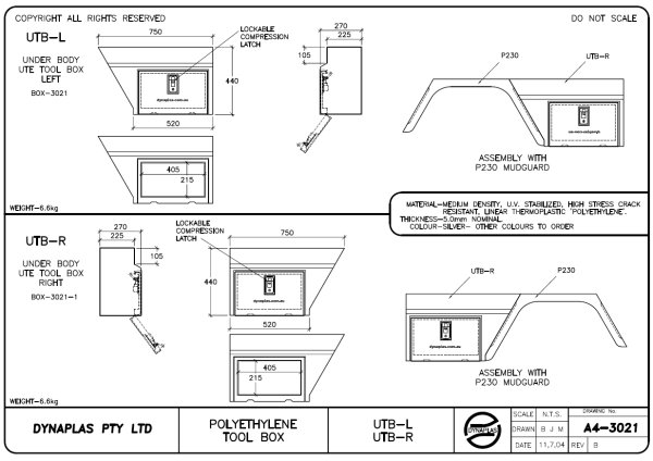 Poly Ute Tool Box Tech drawing click to enlarge